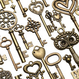 130pcs Античная бронзовая латунь Vtg Изысканные скелетные ключи Lot Кулон Fancy Сердце Кулонs Key Gift