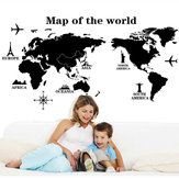 Extraíble Poster Letter World Map 3D Art Decor Vinilo Etiqueta de La Pared Sala de estar Decoración de la Oficina Pegatinas de Pared Decoración Del Hogar World Map Quote Scratch Vinilo Calcomanías de Arte Mural Sala de estar D