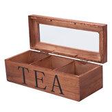 Чай Сумка Магазины Деревянные Чай Коробка 3 отделения Откидная стеклянная крышка Чай Органайзер Ювелирные изделия Коробка Хранение