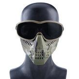 Wosport lunettes tactiques + demi-masque amovible masque de protection militaire extérieur CS