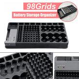 98Grids Bateria Suporte de armazenamento organizador com Bateria testador removível Caso