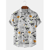 Halloween Cartoon Print Turn Down Collar Short Sleeve Shirts
