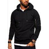 Sudadera deportiva para hombre Pullover con capucha personalizado Sudadera de color sólido Bolsillos en el brazo Top informal