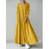 Women Casual Solid Color V-Neck Loose Long Sleeve Swing Maxi Dress