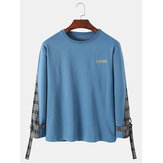Mens Letter Print Side Patchwork Plaid Pullover Design Sweatshirts