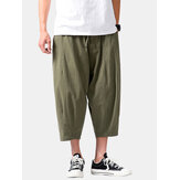 Mens Vintage Solid Color Drawstring Pocket Loose Casual Calf Length Pants