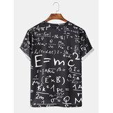 Camisetas divertidas ocasionales de manga corta con estampado matemático Doodle Doodle para hombre