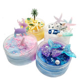 Fluffy Slime Brushed Mud Mermaid Tail Starfish Coconut Tree DIY Slime Set Decompression Toy