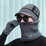 メンズスカーフ帽子手袋スリーピーススーツニット防風キャップ