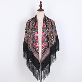 Ethnic Twill Cotton Fringed Square Scarf