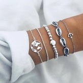 Simple Fashion Metal Shell Map Silver Beads Anchor Bracelet