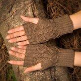 Wool Knit Half Finger Typing Female Diamond Finger Gloves