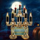 Fornecimento de bateria Halloween Prop Esqueleto Fantasma Assombrado 3 LED Suporte de Vela Pano de Fundo Decoração de Festa de Mesa