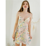 Floral Printed Backless Spaghetti Cross Straps Nightgown