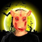Cadılar bayramı Ürpertici Hayvan Prop Lateks Parti Unisex Korkunç Domuz Kafa Maske Saç Ile Cosplay
