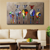 Hand Painted Oil Paintings Five Colorful Zebra Modern Art For Home Decoration Paintings