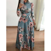 Long Sleeve O-neck Big Swing Casual Long Maxi Dress