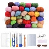 36 colori fai-da-te in feltro di lana kit di aghi set di strumenti fatti a mano ago infeltrimento materasso kit di cucito in tessuto con manico in feltro trifoglio