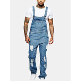Mens Fashion Sling Romper Torn Denim Solid Color Casual Pant