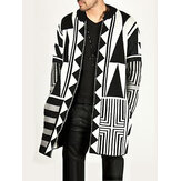 Mens Black White Patchwork Mid Cardigan Panjang