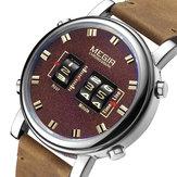 MEGIR 2137 Business Style Lederband Herren Armbanduhr Einzigartiges Design Quarzuhren