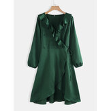 Plus Size Women Green Ruffle Hem Split V-neck Casual Dress
