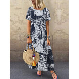 Women Short Sleeve O-neck Retro Floral Print Maxi Dress
