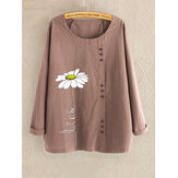 Crew Neck Flower Print Button Long Sleeve Blouse