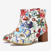 Women Large Size Flower Printed Ankle Boots