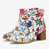 Frauen Große Größe Blume Gedruckt Knöchel Stiefel
