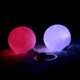 Portable Moon Light 3D Printing Keychain Colorful LED Night Lamp Creative Battery Powered Bag Decor