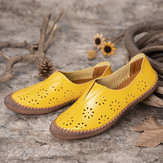 Women Genuine Leather Breathable Soft Slip On Spring Flats