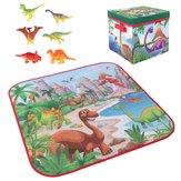 72x72cm kinderen cartoon speelmat + 6 dinosaurus speelgoed vierkante vouwdoos camping mat kind peuter kruipen picknick tapijt