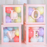 लड़का लड़की की गोद भराई शादी के जन्मदिन की सजावट के लिए 4Pcs DIY पारदर्शी गुब्बारा बॉक्स