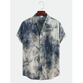 Men Abstract Printed Short Sleeve Turn Down Collar Casual Shirts