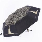 自動3折り畳み式の抗UV太陽傘雨傘屋外キャンプハイキング旅行女性傘-黒