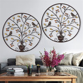 Birds Tree Iron Sculpture Ornament Home Room Wall Hanging Decorations