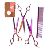 7Inch Pet Grooming Scissors Set Double-Curved Straight Thinning Cat Dog Fur Shaver with Zipper Case