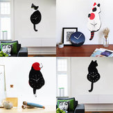 Lovely Animal Cat Dog Shaped Swinging Tail Pendulum Wall Clock Home Decor