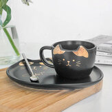 200ML Cat Gold Ceramic Coffee Cup Dish Restaurant Ristorante con tazza di acqua tazza Office Cup Tè