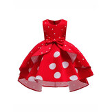 Girls Kids Bow Polka Dot Ruffle Sleeveless Princess Dress
