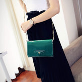 Bakeey Female Casual Patent Leather Small Square Bag Chain Phone Bag Shoulder Messenger Bag with Transparent Phone Slot