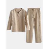 Pijama de linho liso para homens com estilo chinês Plus Tamanho Comforta