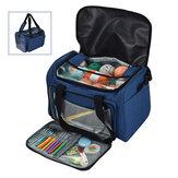 Sacola de tricô Bolsa Armazenamento de fios Bolsa Azul Para fios de lã de linha Ganchos de crochê Agulhas de tricô e acessórios