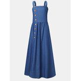 ساده اللون فستان ماكسي دينم طويل بدون أكمام بأزرار وحمالات للنساء