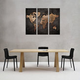 3Pcs Modern Abstract Wall Mount Art Paintings World Map Canvas Picture Home Decor