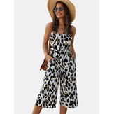 Leopard Print Adjustable Straps Casual Summer Jumpsuit