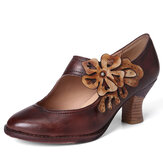 SOCOFY Women Flower Decoration Genuine Leather Retro Pumps