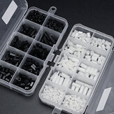 Suleve™ M2.5NH2 300Pcs Nylon Screw White/Black Hex Screw Nut PCB Standoff Spacer Assortment Kit