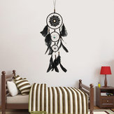 Handmade Dream Catcher Black Feather Wood Beads Balcony Room Wall Hanging Decorations